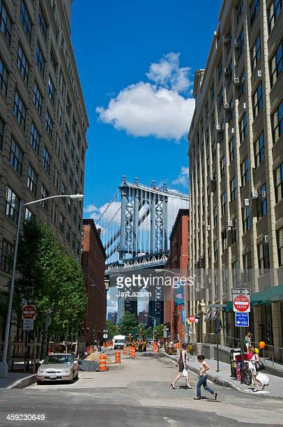 manhattan bridge seen from washington st, dumbo, brooklyn nyc - dumbo stock photos and pictures