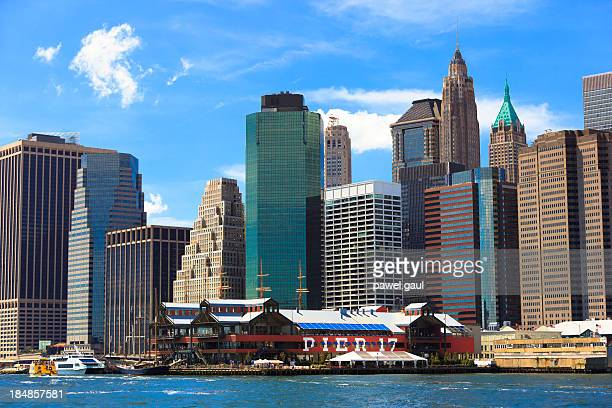 manhattan buildings - south street seaport stock pictures, royalty-free photos & images