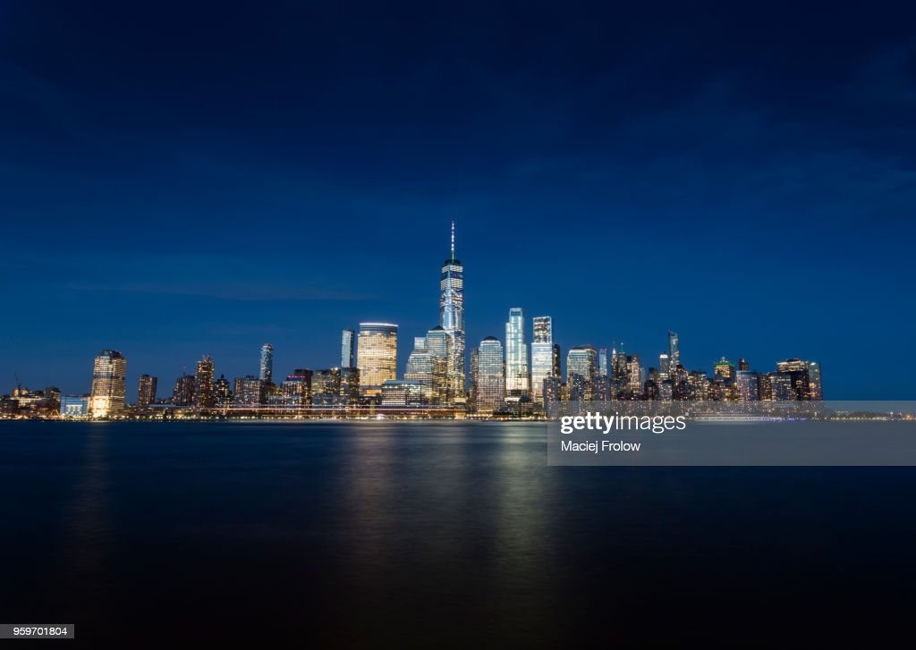 Manhattan by night panorama view from New Jersej : Stock Photo