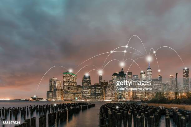 manhattan city network technology - smart stock pictures, royalty-free photos & images