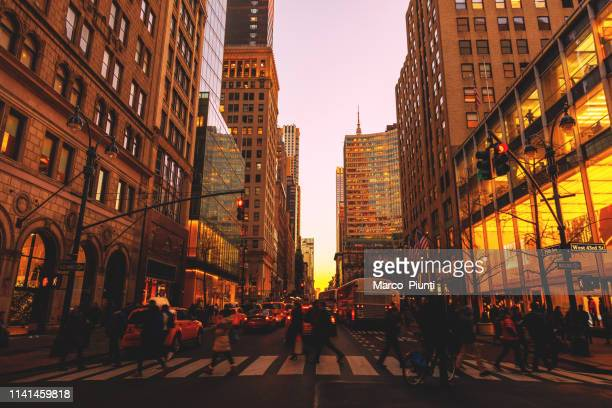 manhattan cityscape fifth avenue - midtown manhattan stock pictures, royalty-free photos & images