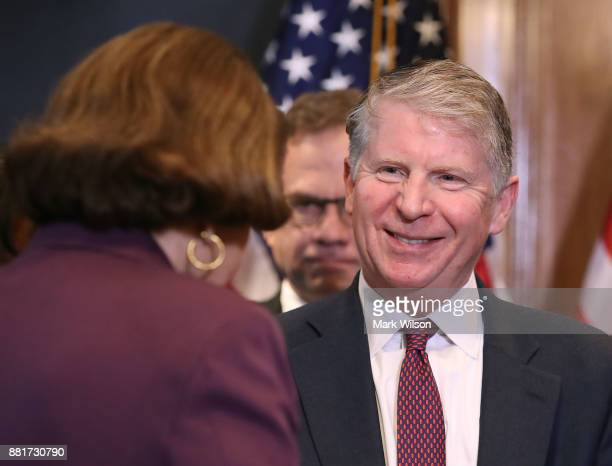 Manhattan District Attorney Cyrus R Vance greets Sen Dianne Feinstein during a news conference where she expressed her opposition to a bill the House...