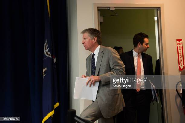 Manhattan District Attorney Cyrus Vance arrives to a press conference on May 16 2018 in New York City Vance announced yesterday that Manhattan will...