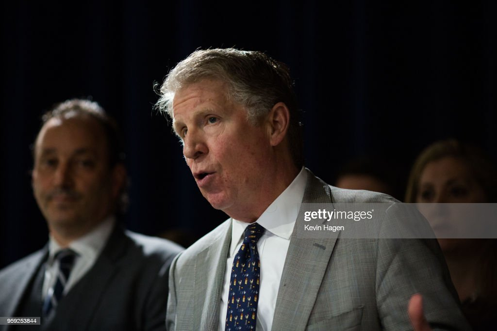 Manhattan District Attorney Cyrus Vance speaks during a press conference on May 16, 2018 in New York City. Vance announced yesterday that Manhattan will stop prosecuting most low-level marijuana cases in August.