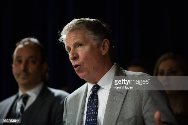 Manhattan District Attorney Cyrus Vance speaks during a press conference on May 16 2018 in New York City Vance announced yesterday that Manhattan...