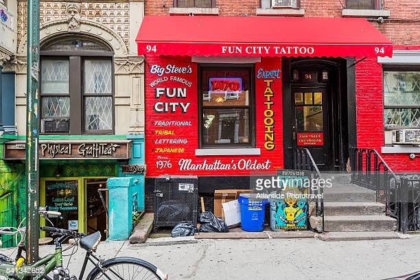 Manhattan, East Village, typical shops in St Marks Place
