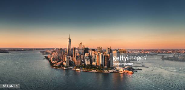 manhattan island aerial view - new york skyline stock photos and pictures