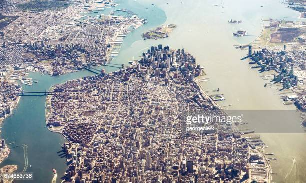 manhattan island and brooklyn from the air - lower manhattan stock photos and pictures