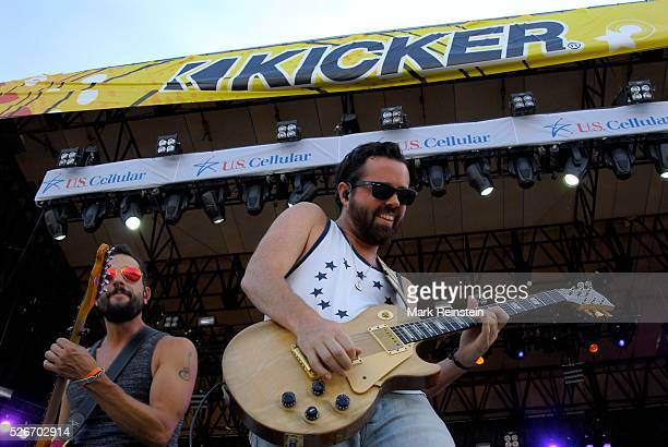 Manhattan Kansas 6252015 Lead singer of the group Old Dominion Mathew Ramsey entertains the crowd today on the opening day of the Kicker Country...