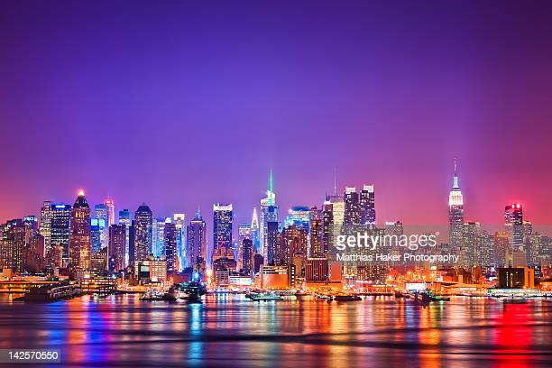 manhattan lights - new york skyline stock photos and pictures