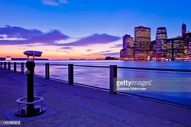 manhattan lookout at sunset - christine wehrmeier stock photos and pictures