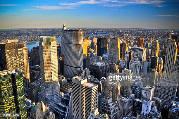 manhattan midtown east sunset - metlife building stock pictures, royalty-free photos & images