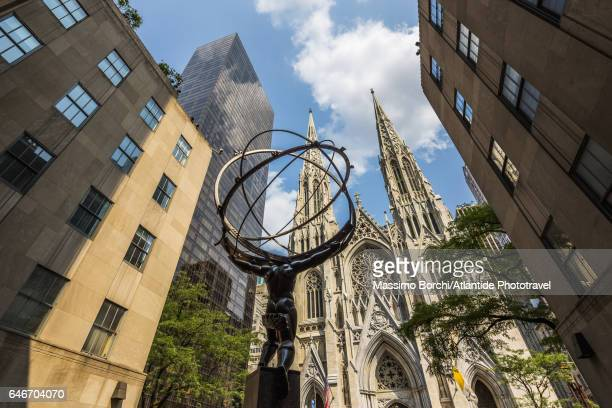 Manhattan, Midtown, Fifth (5th) Avenue, the Atlas Statue of Rockefeller Center and St Patrick Cathedral