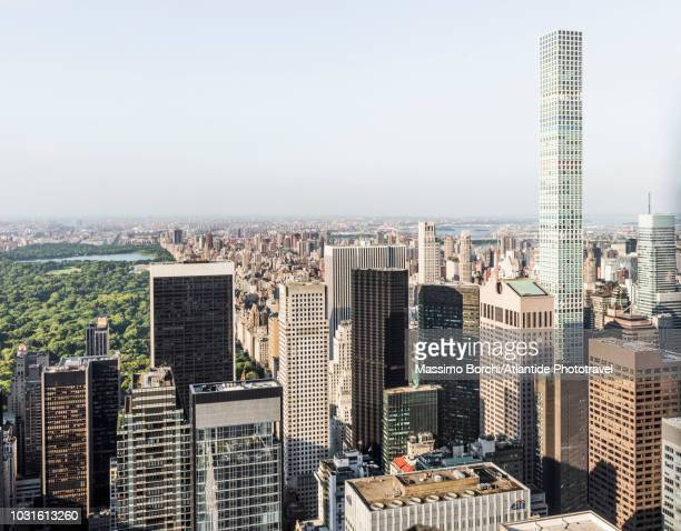 Manhattan, Midtown Manhattan, Central Park and the skyscrapers of Midtown with 432 Park Avenue skyscraper