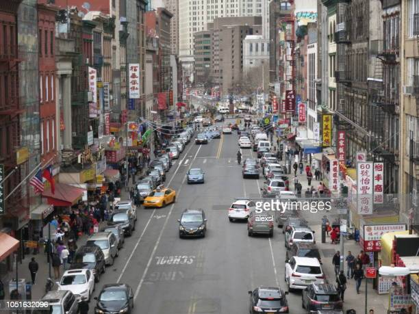 Manhattan New York City China Town street traffic