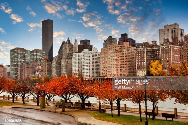 manhattan new york city from roosevelt island usa - manhattan new york city stock pictures, royalty-free photos & images