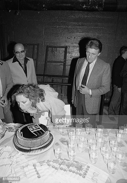 Manhattan New York New York Lauren Bacall celebrates her 57th birthday during a surprise party thrown by the cast and crew of her Broadway smash...