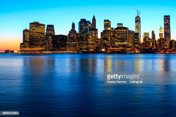 Manhattan, New York skyline at night from Brooklyn