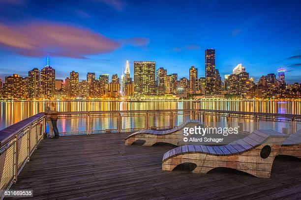 Manhattan NYC skyline at dusk