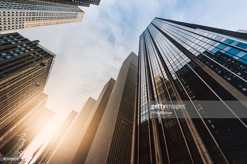 Manhattan office building from below : Stock Photo