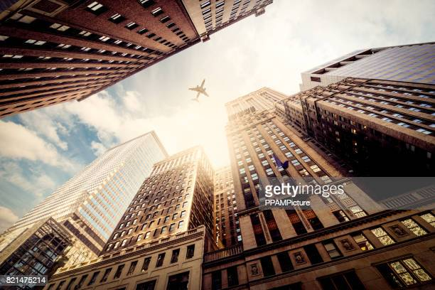 Manhattan office building with airplane
