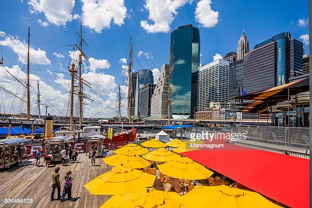 manhattan, pier 17, south street seaport and town - south street seaport stock photos and pictures