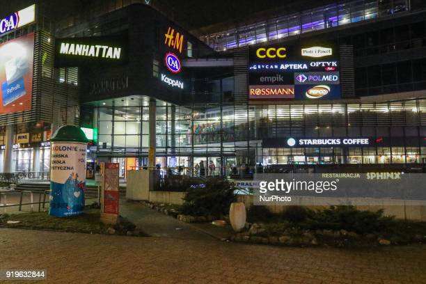 Manhattan Shopping Centre is seen in Gdansk Poland on 17 February 2018 Runners take part in the Manhattan Run run competition inside the Manhattan...