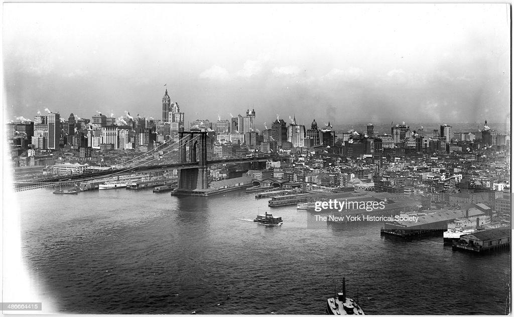 Manhattan side of the Brooklyn Bridge, viewed from the Brooklyn tower of the Manhattan Bridge, New York, New York, 1895.