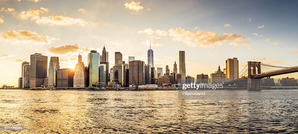 Manhattan skyline at sunset : Stock Photo