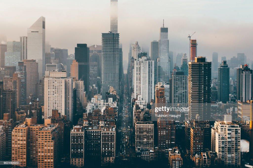 Manhattan skyline from above : Stock Photo