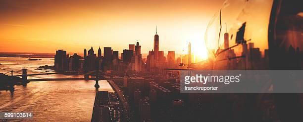 Manhattan skyline from an aerial view