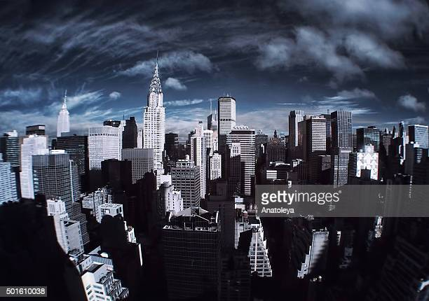 manhattan skyline in infrared - anatoleya stock pictures, royalty-free photos & images