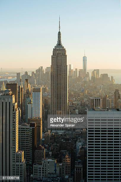 Manhattan skyline with Empire State Building and Downtown, New York City, USA