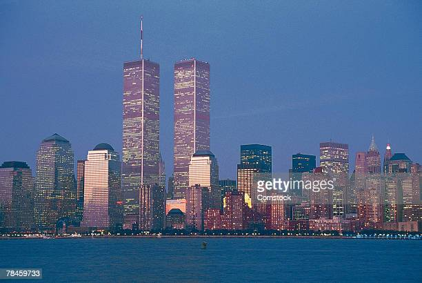 Manhattan skyline with World Trade Center towers , New York City