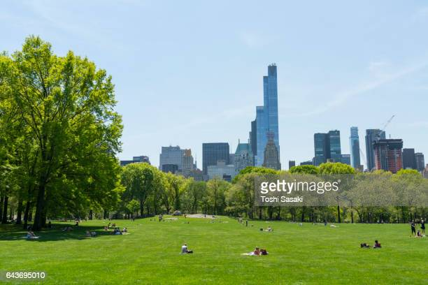 Manhattan skyscrapers behind the Sheep Meadow at Central Park New York. The Sheep Meadow is surrounded by fresh green trees.