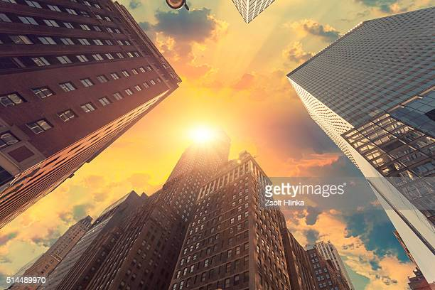 Manhattan skyscrapers in the sunset