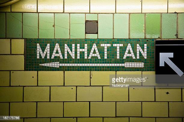 manhattan subway sign - new york city subway stock pictures, royalty-free photos & images