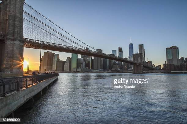 Manhattan sunset from Brooklyn Bridge