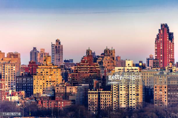 manhattan sunset, new york city - new jersey stock pictures, royalty-free photos & images