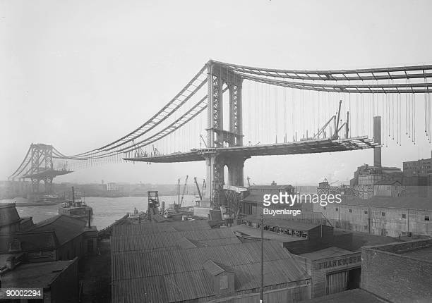 Brooklyn Bridge During Construction With The Suspended Sides Not Yet Connected