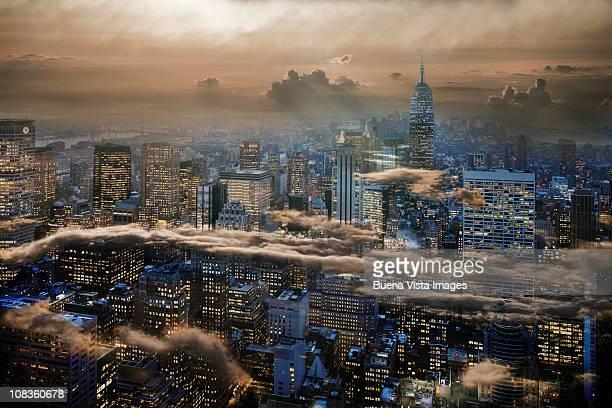 Manhattan under cloudy sky