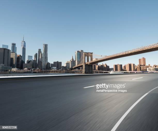 Manhattan Urban Skyline and Brooklyn Bridge
