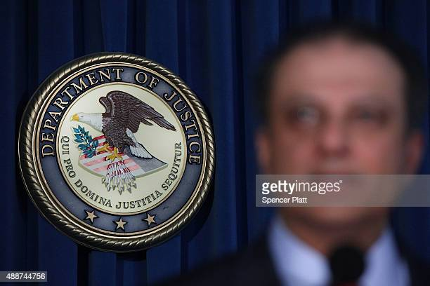 Manhattan US Attorney Preet Bharara speaks at a news conference in Manhattan to announce that Federal prosecutors have reached an agreement with...