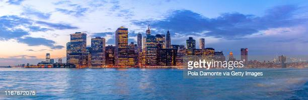 manhattan view from hudson river, new york city, usa - sixth avenue stock pictures, royalty-free photos & images