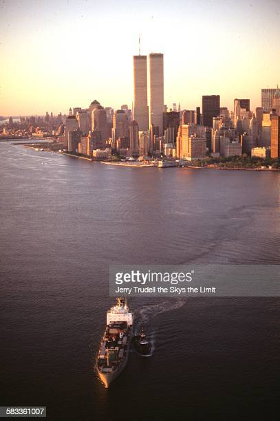 manhattan with new york harbor - twin towers manhattan stock photos and pictures
