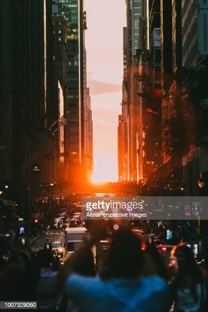 Manhattanhenge New York City Sunset on 42nd Street
