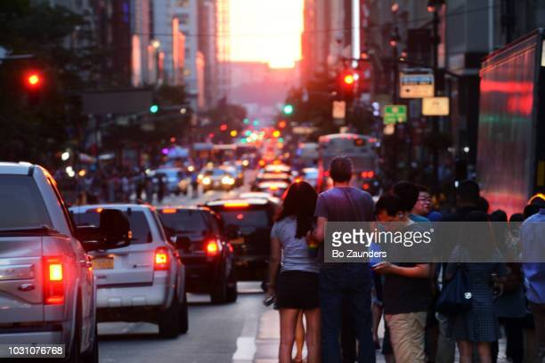 Manhattanhenge: the sun aligning with the the New York City street grid, on July 13th.