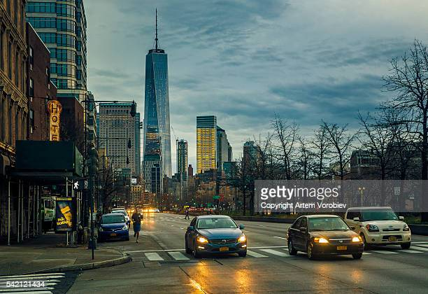 manhattan's west side near chelsea piers - joe dimaggio highway stock photos and pictures