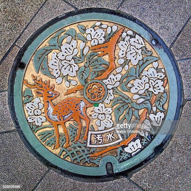 Manhole cover, Kyoto, Japan, Asia