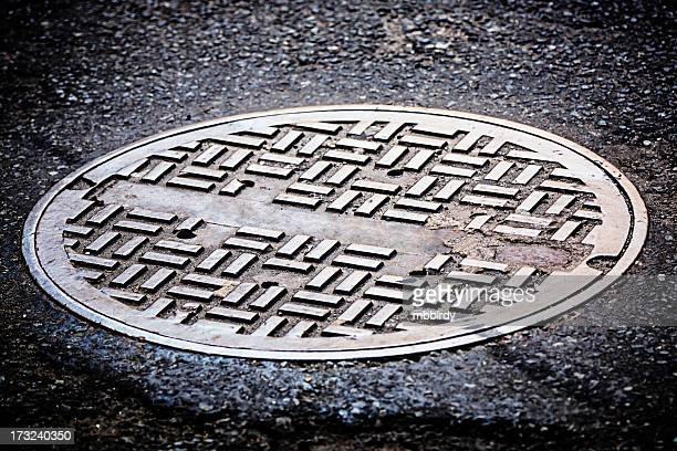 Manhole cover on street